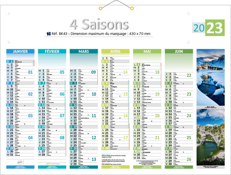 calendrier 4 saisons calendriers publicitaires kelcom. Black Bedroom Furniture Sets. Home Design Ideas