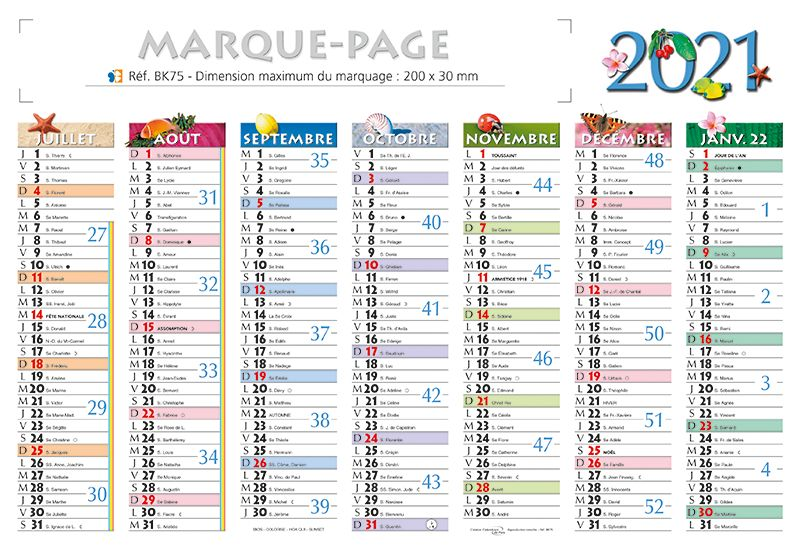 calendrier marque page calendriers publicitaires kelcom. Black Bedroom Furniture Sets. Home Design Ideas