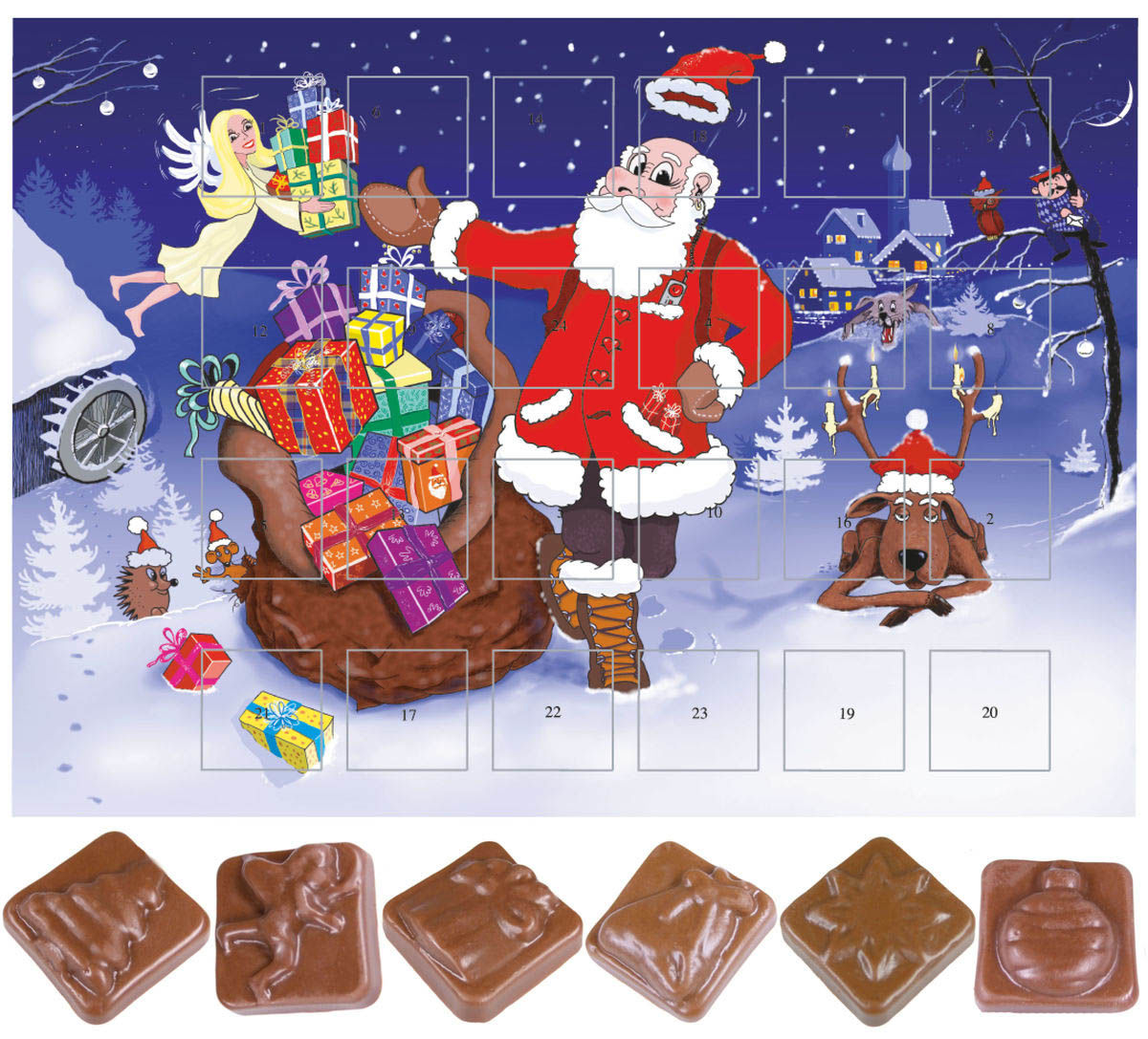 calendrier de l 39 avent au chocolat classique no l publicitaire kelcom. Black Bedroom Furniture Sets. Home Design Ideas