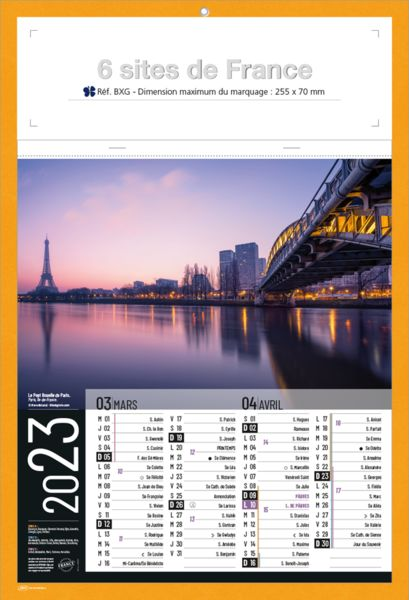 bloc calendrier sites de France