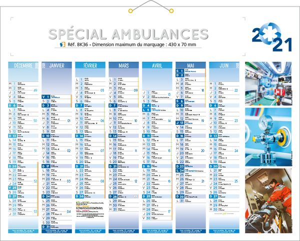 calendrier ambulancier