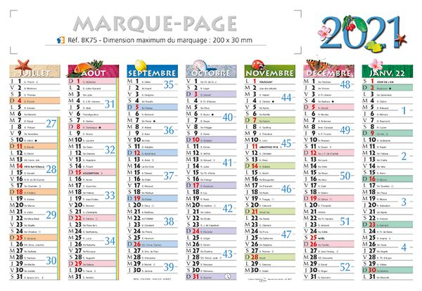 calendrier marque page 1