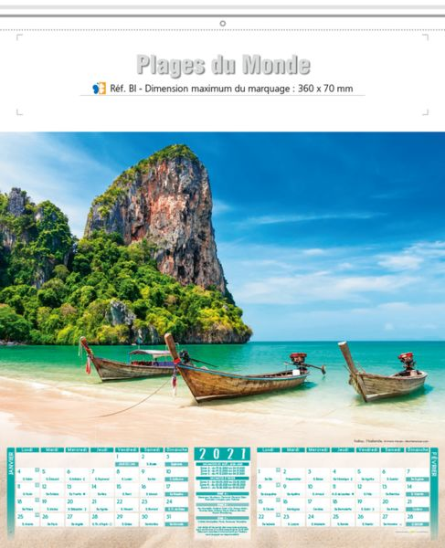 calendrier plage