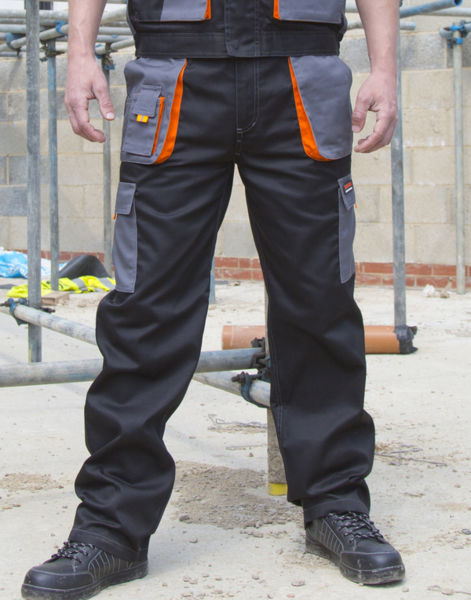 Pantalon personnalisé workwear | Lite Black Grey Orange Black