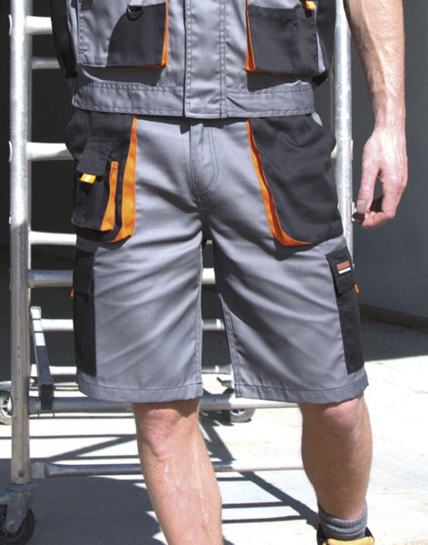 Short publicitaire workwear | Lite Short Grey Black Orange Grey